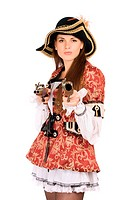 perfect woman with guns dressed as pirates