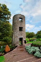 Tourist Looking At Round Tower, Blarney County Cork Ireland