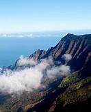 Fog forms on Kalalau valley Kauai