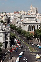Panoramic view of the city and the street of Alcala from the top of the central post office, Madrid, Spain, Europe