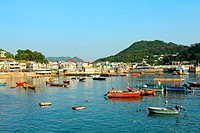 Coastal area with many fishing boats in Lamma Island, Hong Kong.