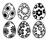 Six Black and White Easter Day Eggs with Floral Designs
