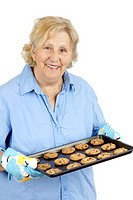 Senior woman with chocolate chip cookies