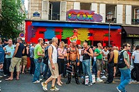 Paris, France, Customers of Gay Bar, 'Cox Bar', Drinking Beer on Street, in Le Marais District, After Gay Pride March