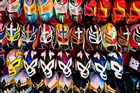 Colorful Lucha libre Mexican wrestling masks, inspired by those worn by professional wrestlers, for sale in a street shop in Mexico City, Mexico, 29 M...