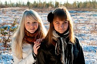 Two young beautiful girls