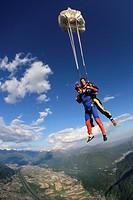 Switzerland, Canton Ticino, parachuting