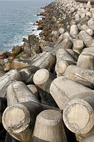 Coastal protection with tetrapods. Sao Miguel island, Azores islands