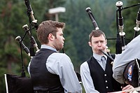 Bagpipers performing at the 66th Annual Pacific Northwest Scottish Highland Games and Clan Gathering - Enumclaw, Washington