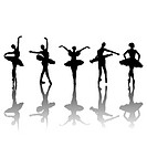 Five ballet dancers silhouettes in different positions, vector i