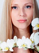 Girl with white orchid