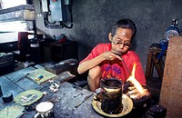 Craftman working with silver  Yogyakarta  Java  Indonesia