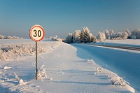 Roadside Sign in Winter