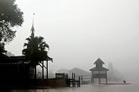 Fog surrounding a village on Inle Lake, Burma (thumbnail)