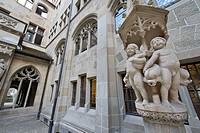 Fountain, cloister, Fraumuenster church, Minster of Our Lady, Zurich, Switzerland, Europe