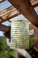 A paper lantern hanging