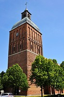 Tower of St. Mary's Church, originally a brick building from the 13th Century, tower renovation in 1819, Ribnitz_Damgarten, Mecklenburg_Western Pomera...