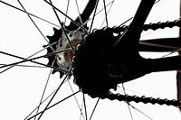 Extreme close up of chain and spokes (thumbnail)