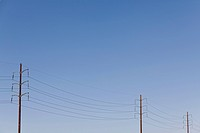 Power lines against a clear sky