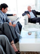 Multi_ethnic business people discussing before a job interview