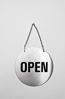 Open sign on silver chain
