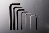 Various sizes of Allen wrenches in a neat row (thumbnail)