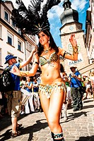 COBURG, GERMANY _ JULY 10: An unidentified female samba dancer participates at the annual samba festival in Coburg, Germany on July 10, 2011.