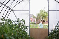 A young girl looking in to a greenhouse