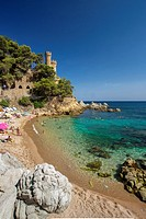 Spain, Europe, Catalonia, Costa Brava Coast, Lloret de Mar, town, Beach, beach, blue, castle, cliff, coast, colourful, Costa, Costa Brava, holiday, le...