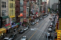 Shot from the Manhattan Bridge of Canal Street in Chinatown