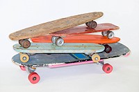 A stack of skateboards