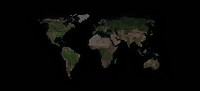 World map in dots against a black background