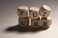 Lettered cubes stacked to spell the word future