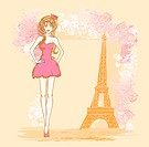 beautiful women Shopping in Paris _ vector card