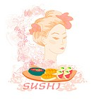 beautiful Asian girl and sushi _ poster