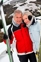 Senior couple at ski resort