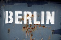 'Berlin' stencil on metal container