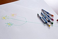 Crayons lying on a child's drawing of a stem with flowers on it