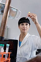 A lab technician examining a test tube full of liquid