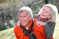 Senior couple having fun in countryside