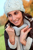 Portrait of beautiful woman in fall season