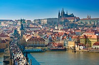 Prague, Charles bridge and Prague Castle, Vltava panorama