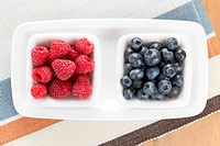 blueberries and raspberries in bowl