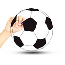 soccer football ball and hand with pen isolated on white backgro