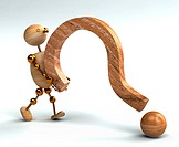 wood man lifting question mark