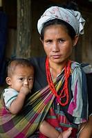 Karen ethnic group woman Baan Par Khaw Lham village Chiang Mai province. Thailand.