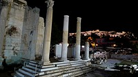Hadrian's Library by night, Agora, Athens, Greece
