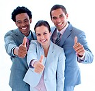 Close_up of happy business team with thumbs up