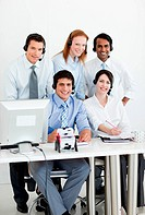 Portrait of a multi_ethnic business team with headset on