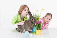 Girl and boy with easter bunny